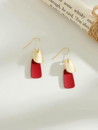 claret Copper Enamel Geometric Minimalist Hook Earring