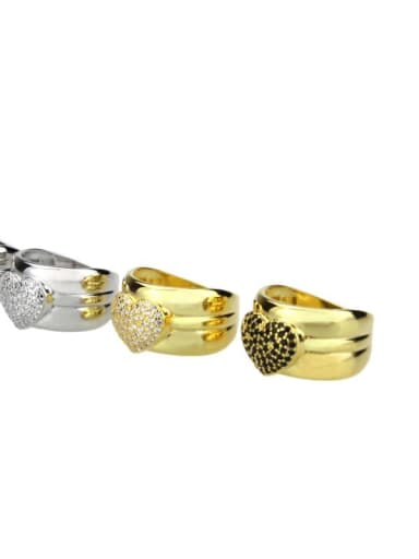 Brass Cubic Zirconia Heart Luxury Band Ring