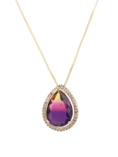 Yellow pink purple gradient Brass Cubic Zirconia Water Drop Dainty Necklace