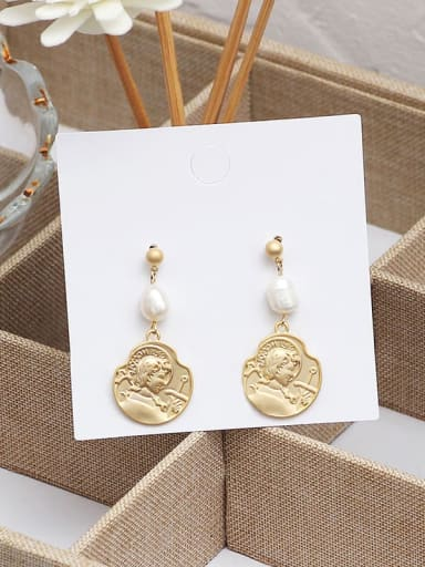 Dumb gold Copper Imitation Pearl Geometric Ethnic Drop Earring