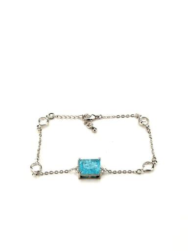White Gold Plated blue explosive stone Brass Cubic Zirconia Geometric Vintage Link Bracelet