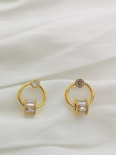 Copper Cubic Zirconia Geometric Dainty Drop Earring