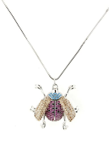 Platinum plating Brass Cubic Zirconia Insect Cute Necklace