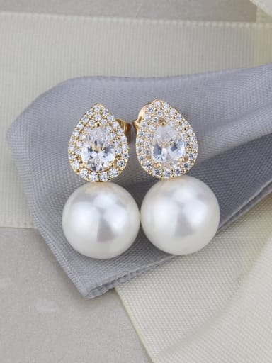 gold-plated Brass Imitation Pearl Water Drop Luxury Stud Earring