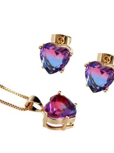 Gold Plated two color Brass Cubic Zirconia Dainty Heart  Earring and Necklace Set