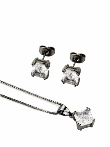 Black plated white zircon Brass Square Cubic Zirconia Earring and Necklace Set
