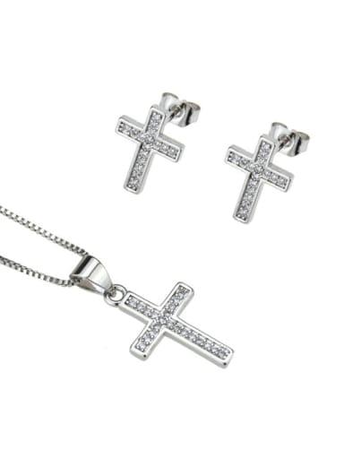 Platinum plating Brass Cubic Zirconia Cross Dainty Initials Necklace