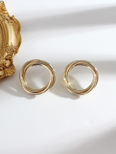 gold Copper Round Minimalist Hoop Earring