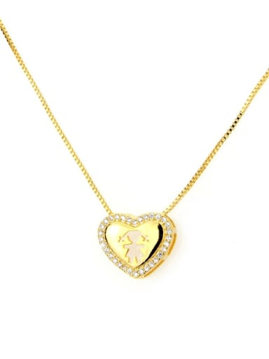 Gilded girl Brass Cubic Zirconia Heart Dainty Necklace