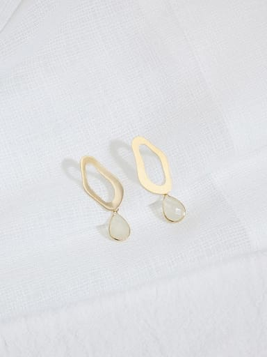 Clear crystal Copper Cats Eye Water Drop Minimalist Stud Earring