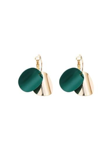 Copper Enamel Geometric Minimalist Huggie Earring