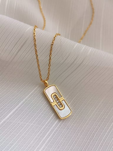 Copper Alloy Shell White Geometric Trend Necklace