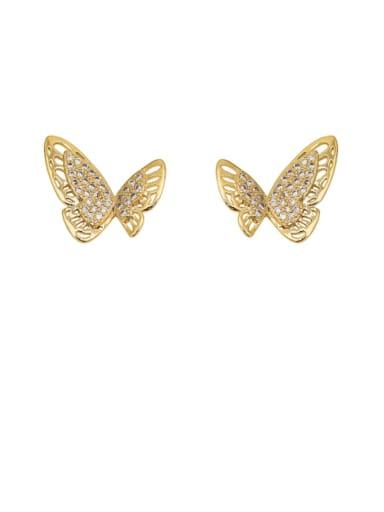 Copper Rhinestone Hollow Butterfly Minimalist Stud Earring