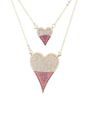 Brass Cubic Zirconia Heart Luxury Multi Strand Necklace