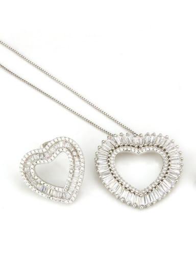 Platinum set Brass Cubic Zirconia Heart Dainty Necklace