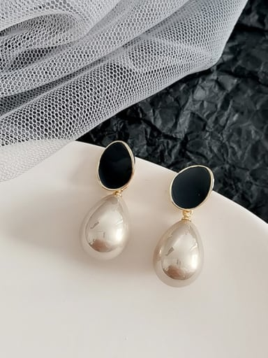 14K gold dark grey Copper Imitation Pearl Water Drop Minimalist Drop Earring
