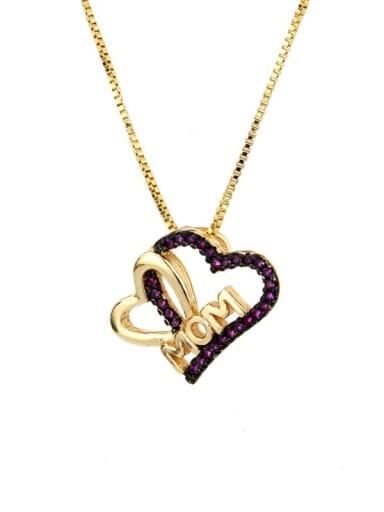 Gold Plated Red zirconium Brass Cubic Zirconia Heart Minimalist Necklace