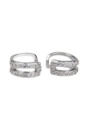 Platinum plating Brass Cubic Zirconia Round Dainty Clip Earring