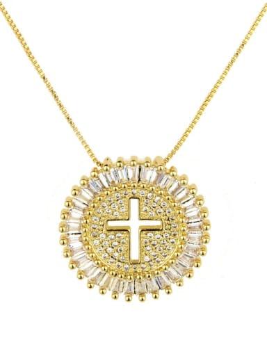 Brass Cubic Zirconia Cross Dainty Initials Necklace