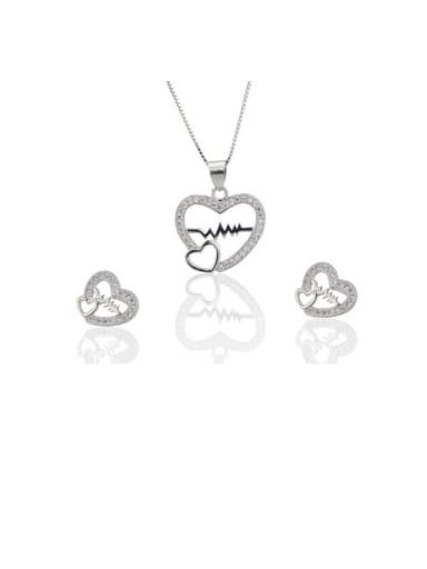 Brass Rhinestone Dainty Heart  Earring and Necklace Set