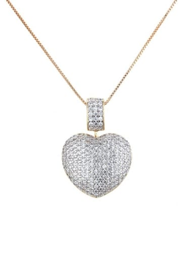 Gold plated white zirconium Brass Rhinestone Heart Dainty   Pendant Necklace