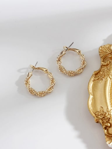 gold Alloy Hollow Round Minimalist Hoop Earring