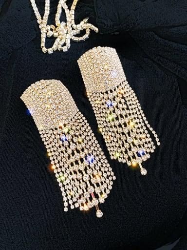 Silver needle. Gold fringes Alloy Cubic Zirconia Tassel Statement Cluster Earring