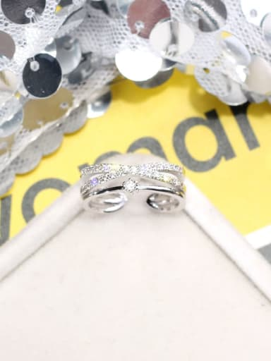 silvery Alloy +Rhinestone White Geometric Trend Stackable Ring/Free Size Ring
