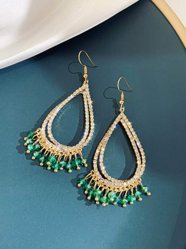 Alloy Rhinestone Water Drop Luxury Hook Earring