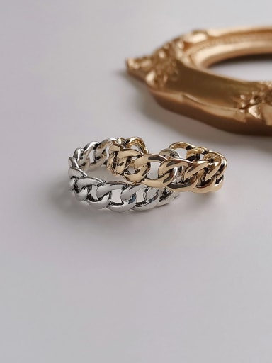 Copper Retro Hollow  Geometric Chain  Free Size Band Ring