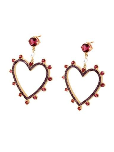 Gold Plated Red zirconium Brass Rhinestone Heart Minimalist Drop Earring