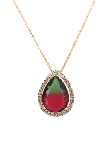 Gradient red green Brass Cubic Zirconia Water Drop Dainty Necklace
