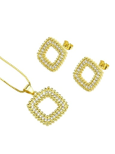 gold-plated Brass Rhinestone  Minimalist Square Earring and Necklace Set