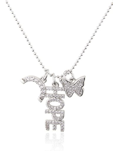 White zirconium plating Brass Rhinestone Letter Dainty Butterfly pendant Necklace
