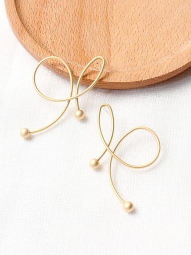 Dumb gold Copper Imitation Pearl Bowknot Minimalist Drop Earring