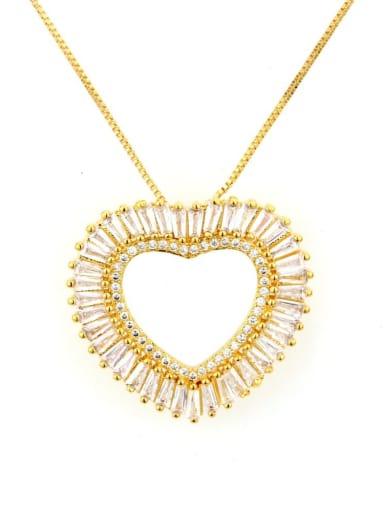 Gold Pendant Brass Cubic Zirconia Heart Dainty Necklace