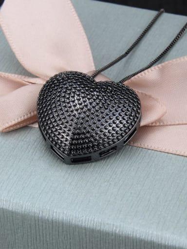 Black plating Brass  Smooth Heart Minimalist  Pendant  Necklace