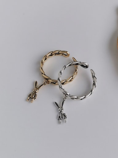 Copper  Retro Hollow chain rabbit  Free Size Band Ring