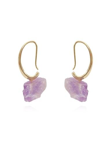 Copper Amethyst Irregular Minimalist Hook Earring