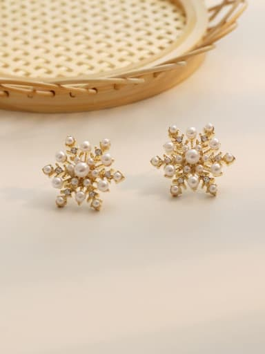 14K  gold Copper Imitation Pearl Flower Ethnic Stud Earring
