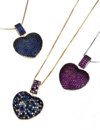 Brass Rhinestone Heart Dainty   Pendant Necklace
