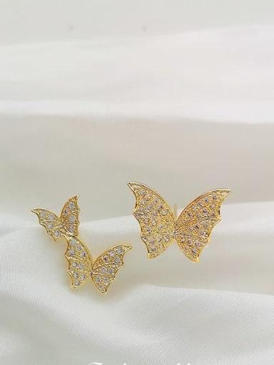Copper Cubic Zirconia Butterfly Dainty Stud Earring