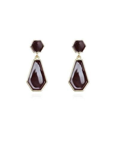Copper Enamel Geometric Vintage Drop Earring