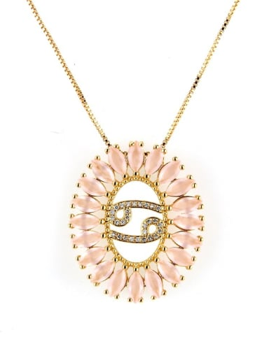 Cancer Brass Cubic Zirconia Oval Dainty Initials Necklace