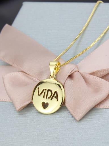 gold-plated Brass Round Minimalist Initials Necklace