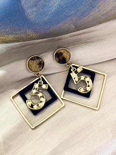 Mixed Metal Gold Number.5 fashional Drop Earring