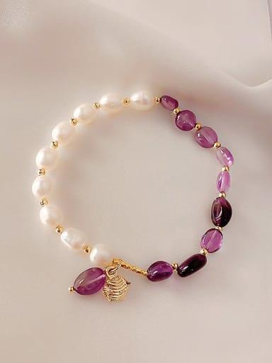 Purple Crystal Bracelet Alloy Imitation Pearl Irregular Ethnic Adjustable Bracelet