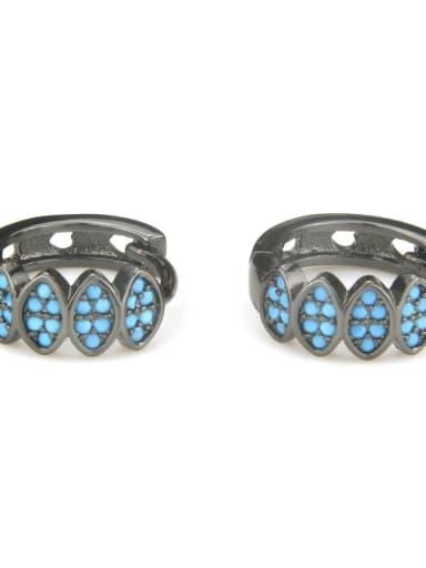 XXED 215 Brass Cubic Zirconia Geometric Vintage Huggie Earring