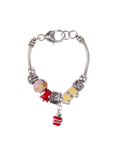 Alloy Transport. Apple Glass  Charm Bracelet