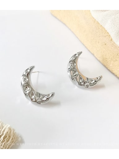 White K Copper  Smooth Moon Ethnic Stud Earring